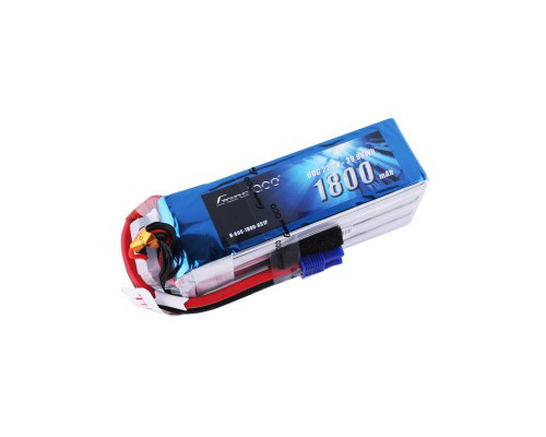 Gens Ace 1800mAh 22.2V 60C 6S1P Lipo Battery Pack with EC3 plug