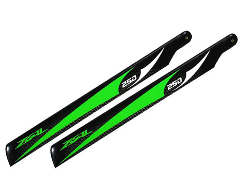 Zeal CF Main Blades 250mm Green