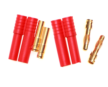 4mm Bullet Connector with Plug - 2 pairs